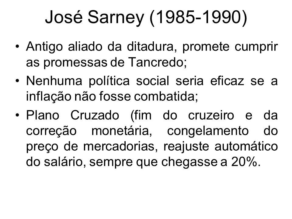 José Sarney (1985-1990) Antigo aliado da ditadura, promete cumprir as promessas de Tancredo;
