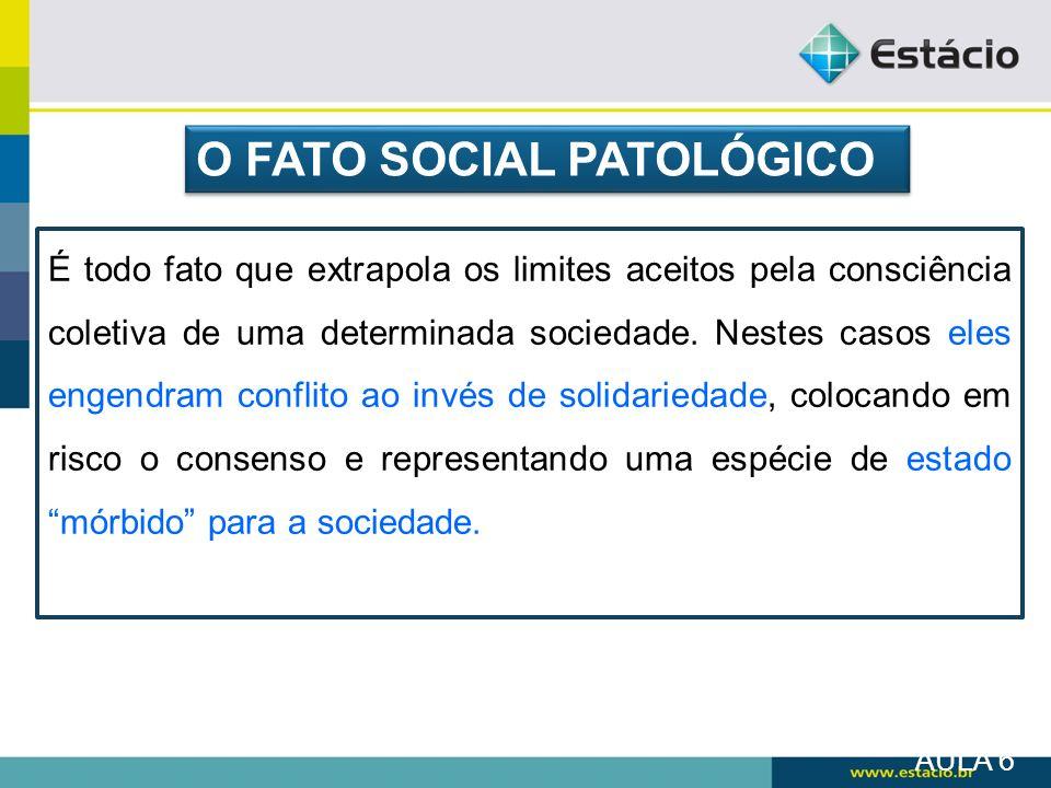 O FATO SOCIAL PATOLÓGICO