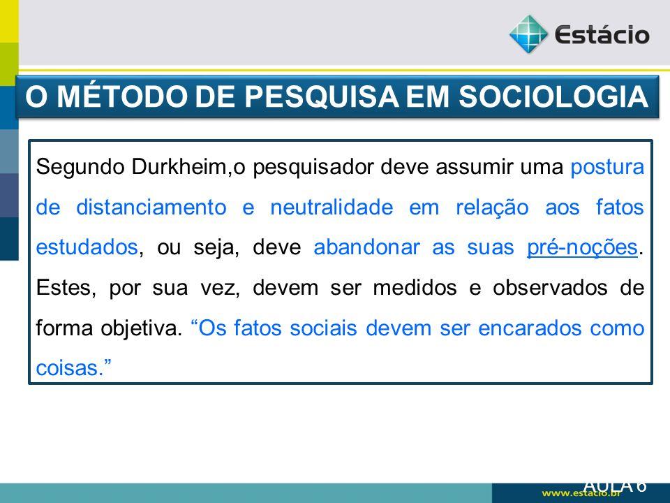 O MÉTODO DE PESQUISA EM SOCIOLOGIA
