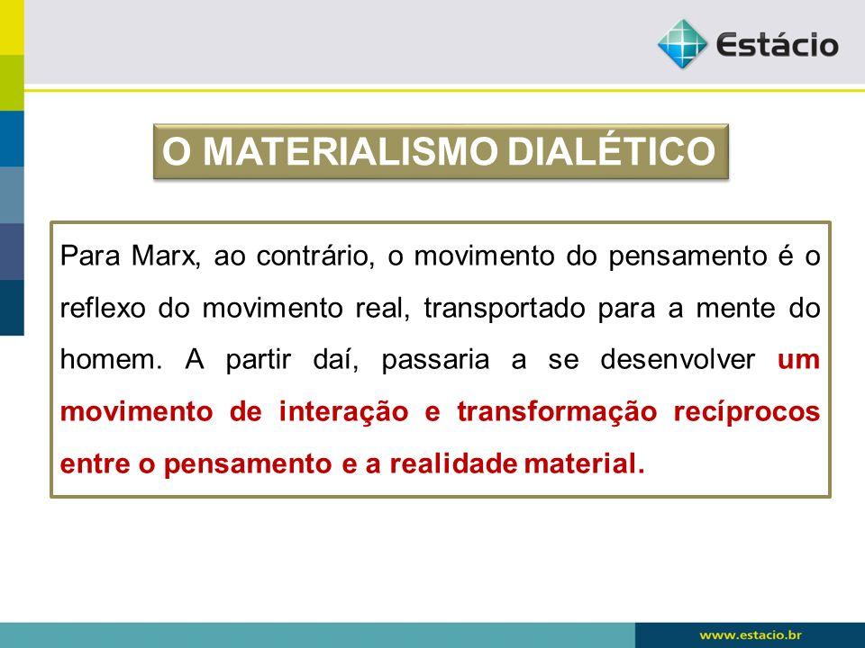 O MATERIALISMO DIALÉTICO