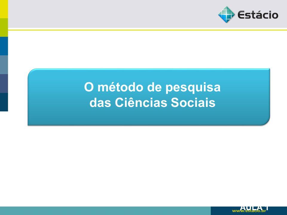O método de pesquisa das Ciências Sociais