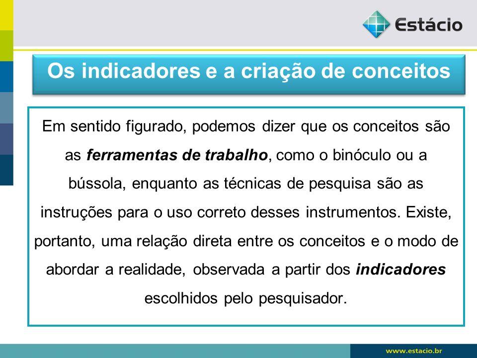 Os indicadores e a criação de conceitos