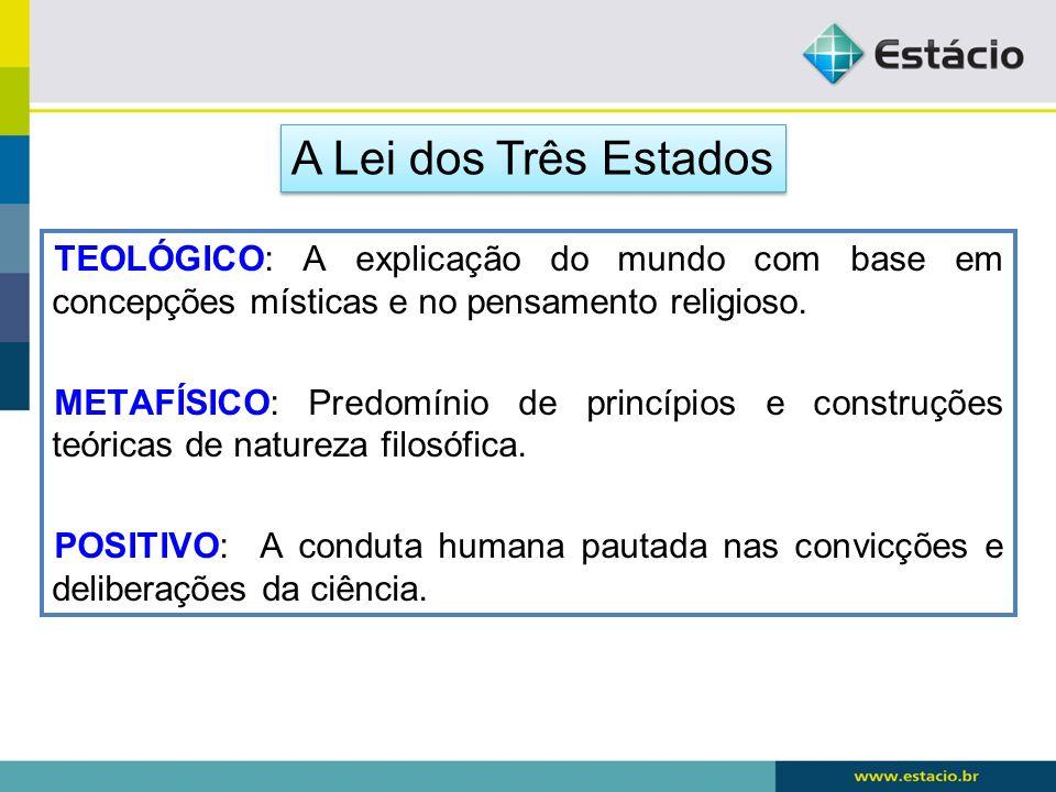 A Lei dos Três Estados TEOLÓGICO: A explicação do mundo com base em concepções místicas e no pensamento religioso.