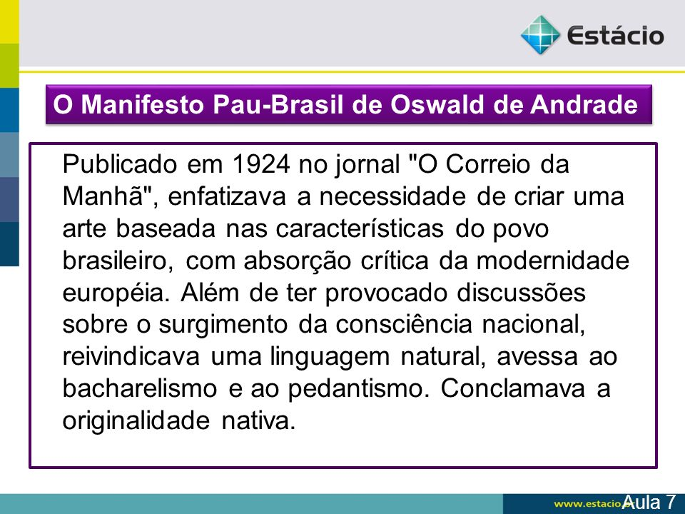 O Manifesto Pau-Brasil de Oswald de Andrade