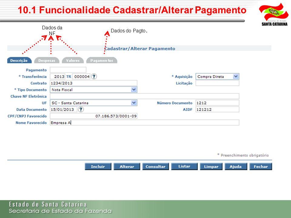 10.1 Funcionalidade Cadastrar/Alterar Pagamento