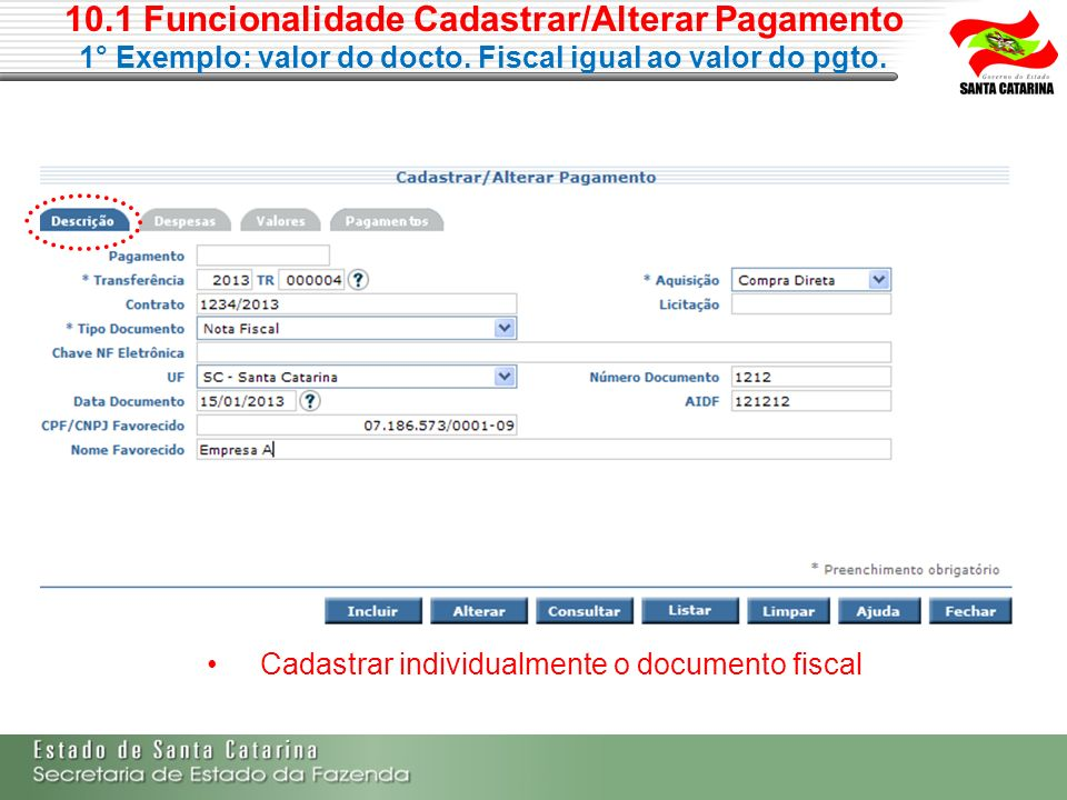Cadastrar individualmente o documento fiscal