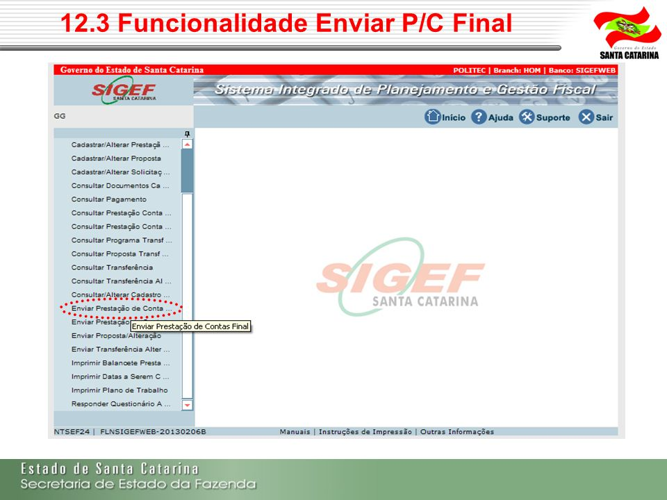 12.3 Funcionalidade Enviar P/C Final