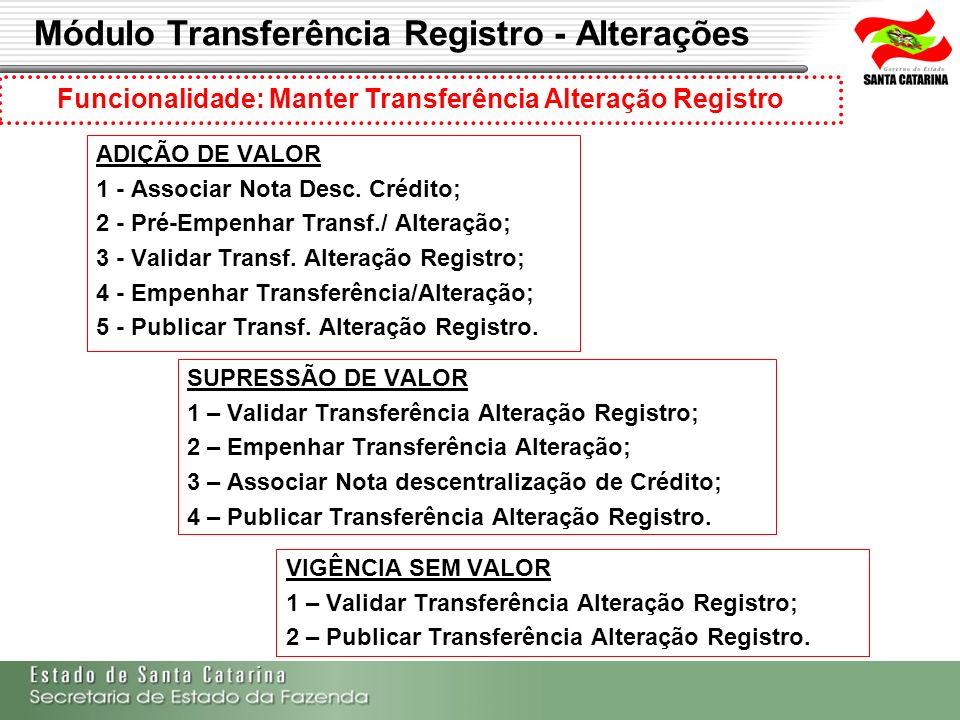 Módulo Transferência Registro - Alterações