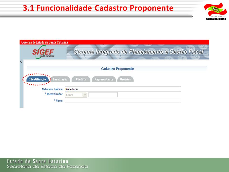 3.1 Funcionalidade Cadastro Proponente
