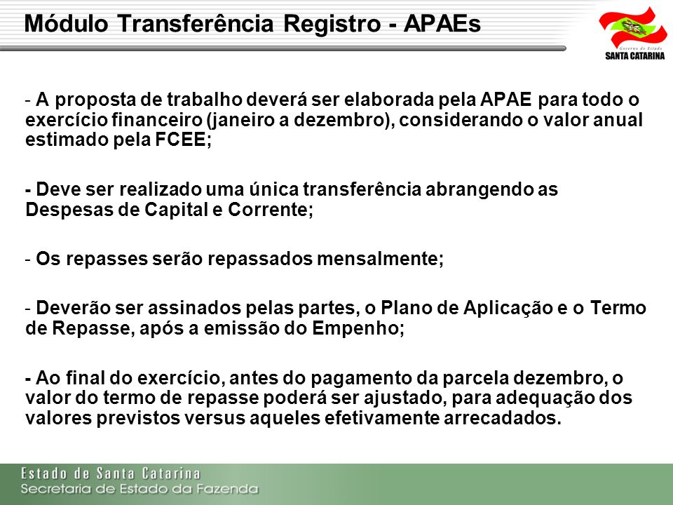 Módulo Transferência Registro - APAEs