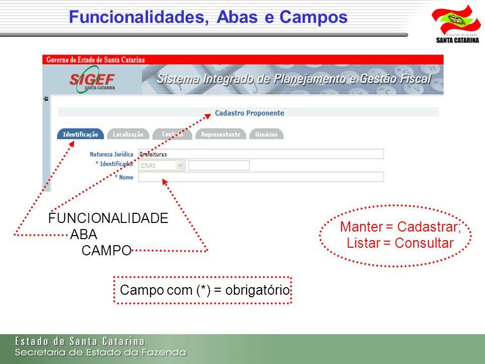 Funcionalidades, Abas e Campos