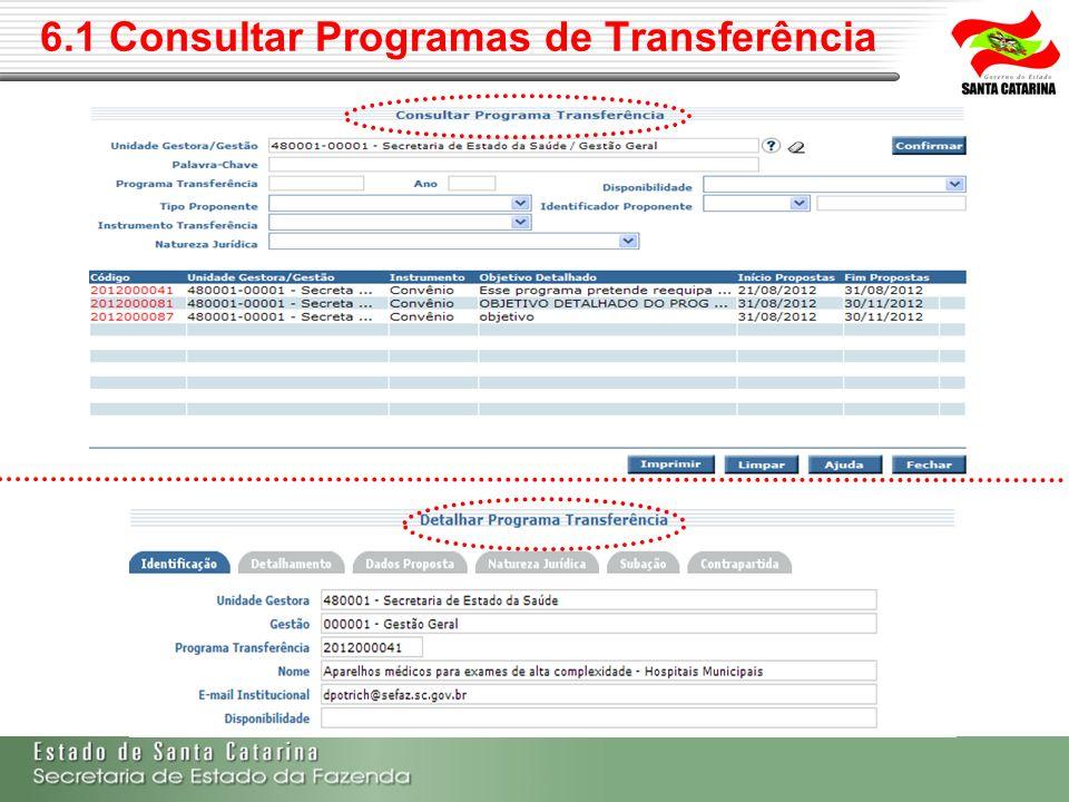 6.1 Consultar Programas de Transferência