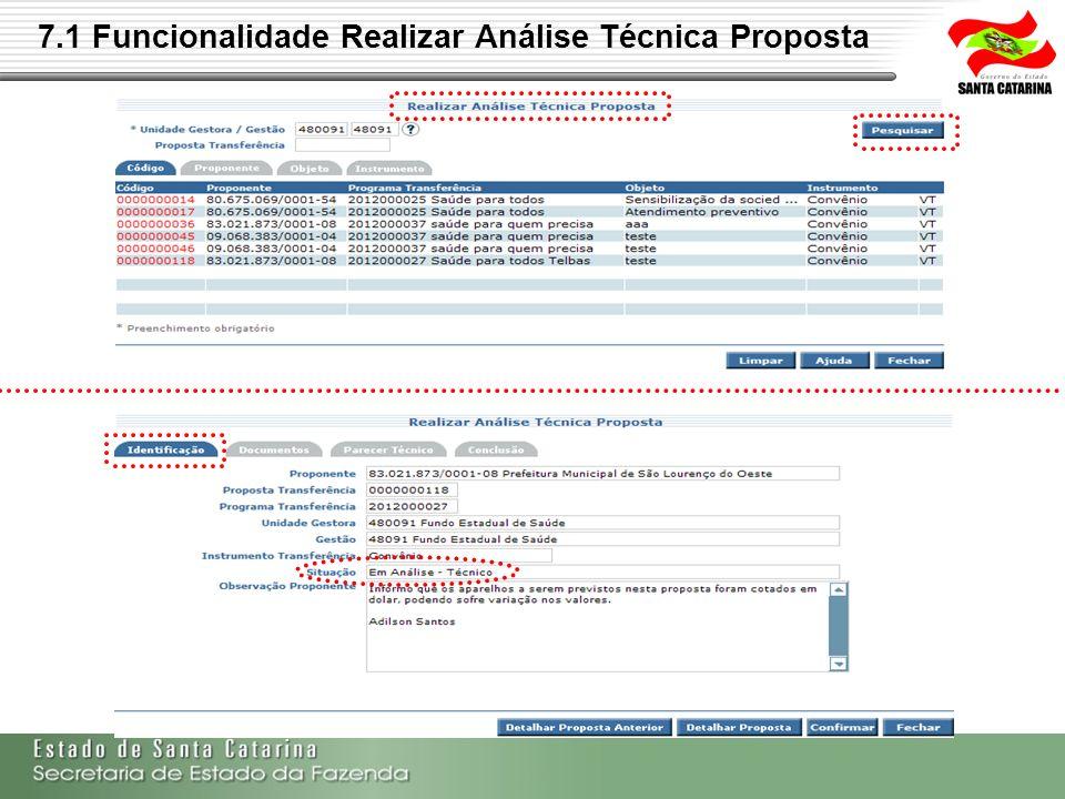7.1 Funcionalidade Realizar Análise Técnica Proposta