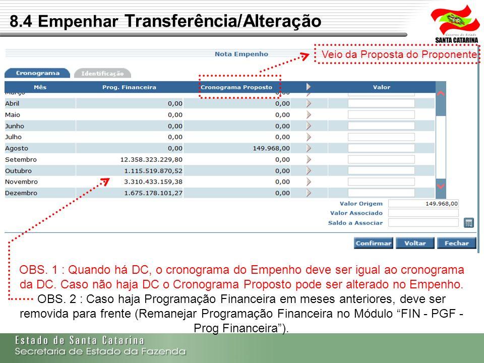 8.4 Empenhar Transferência/Alteração