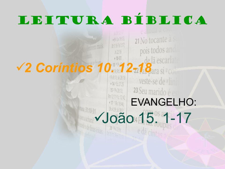 Leitura bíblica 2 Coríntios 10. 12-18 EVANGELHO: João 15. 1-17