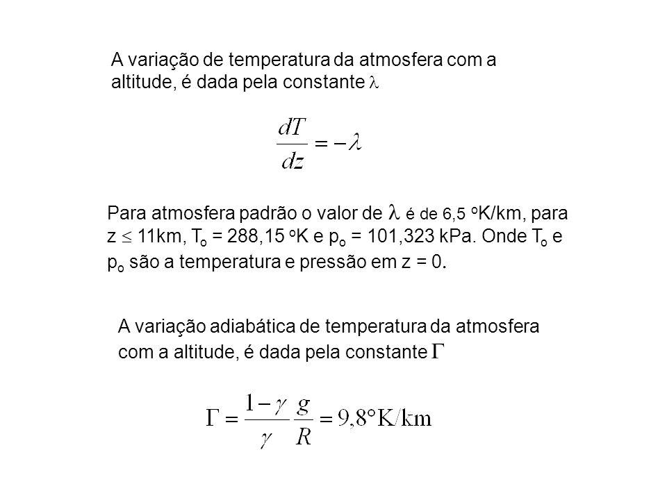 A variação de temperatura da atmosfera com a altitude, é dada pela constante l