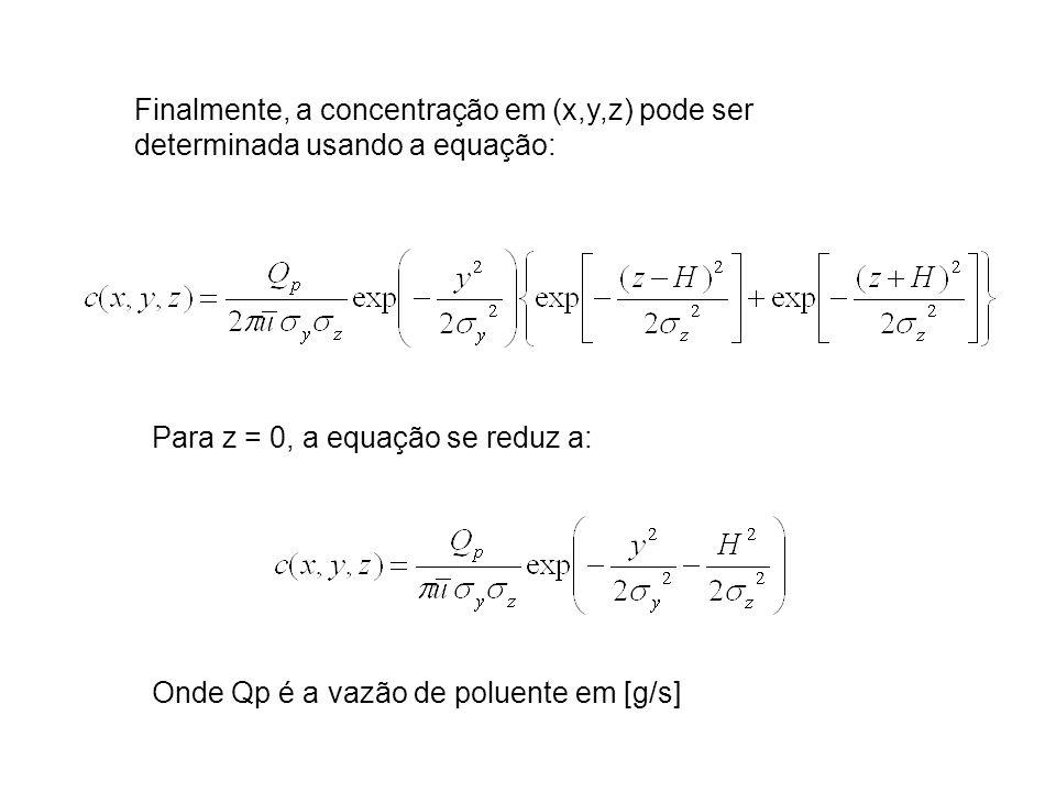 Finalmente, a concentração em (x,y,z) pode ser determinada usando a equação: