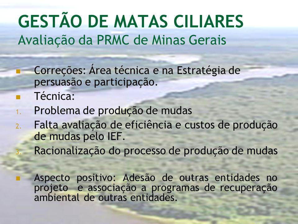 GESTÃO DE MATAS CILIARES Avaliação da PRMC de Minas Gerais