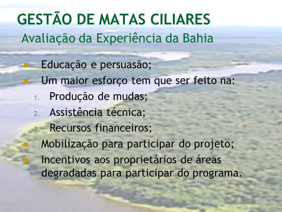 GESTÃO DE MATAS CILIARES Avaliação da Experiência da Bahia