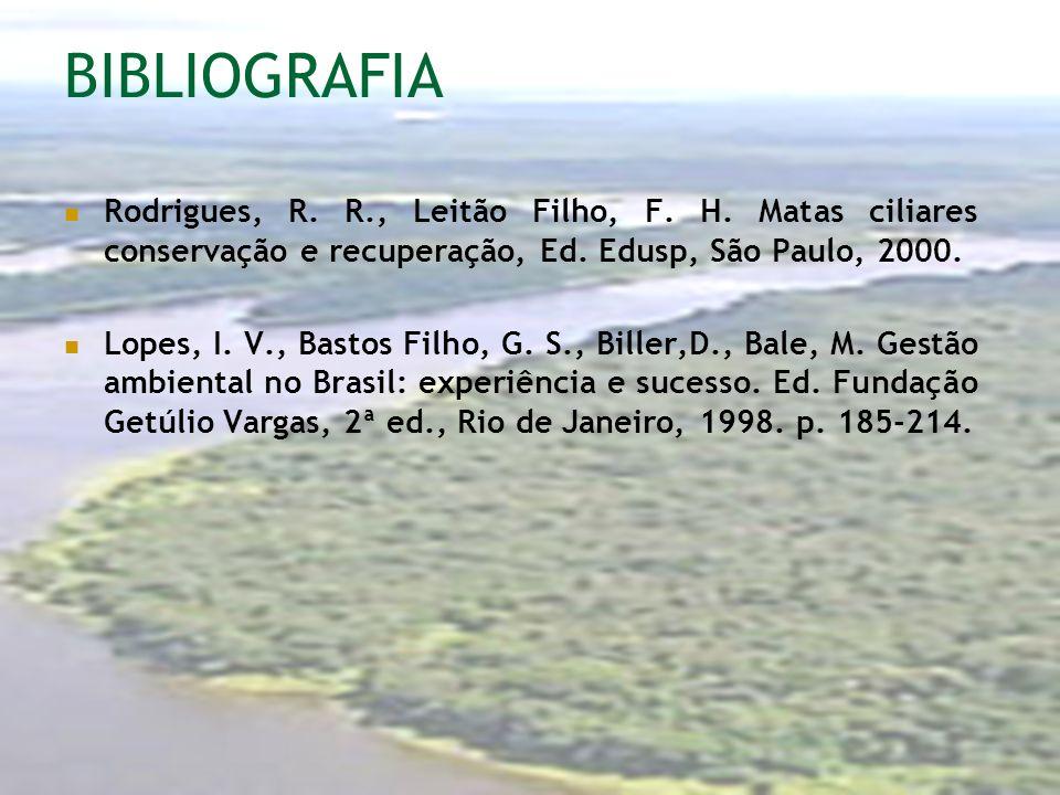 BIBLIOGRAFIA Rodrigues, R. R., Leitão Filho, F. H. Matas ciliares conservação e recuperação, Ed. Edusp, São Paulo, 2000.