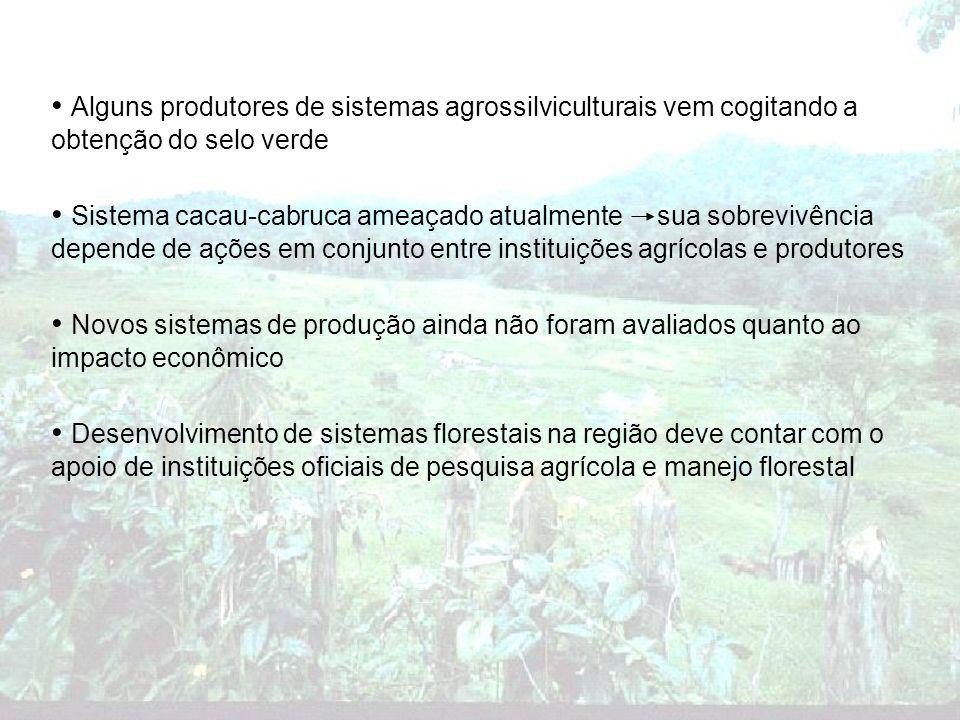 Alguns produtores de sistemas agrossilviculturais vem cogitando a obtenção do selo verde