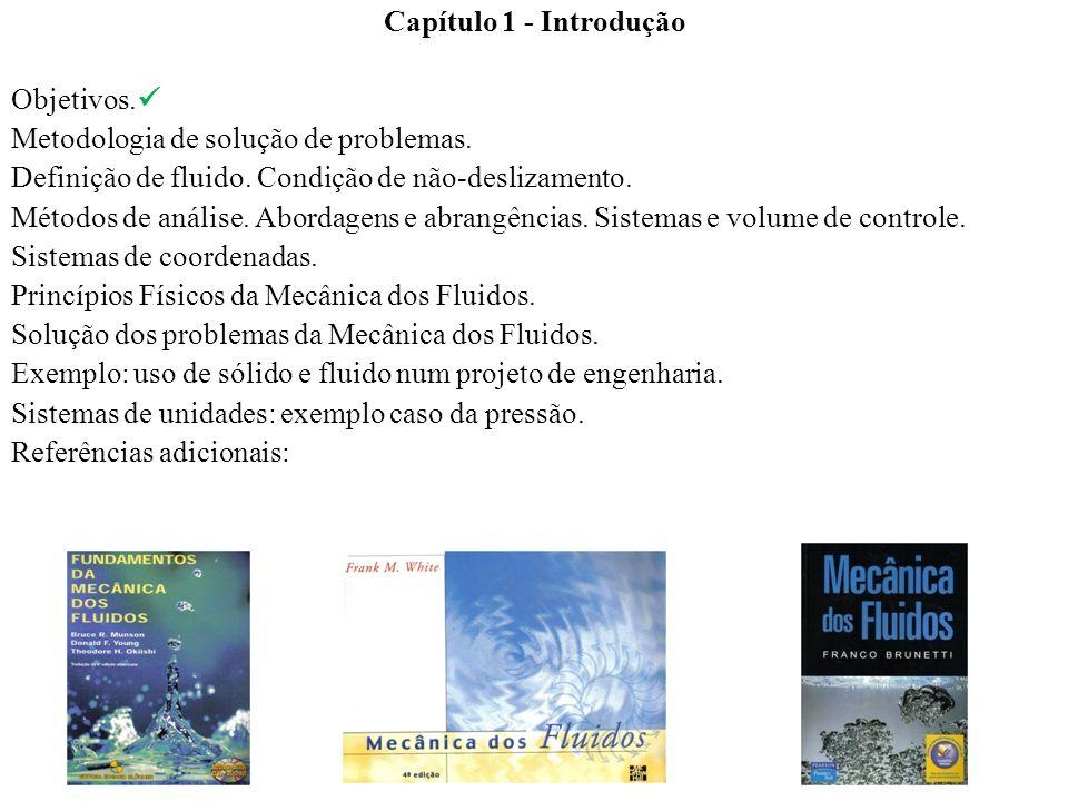 Capítulo 1 - IntroduçãoObjetivos. Metodologia de solução de problemas. Definição de fluido. Condição de não-deslizamento.