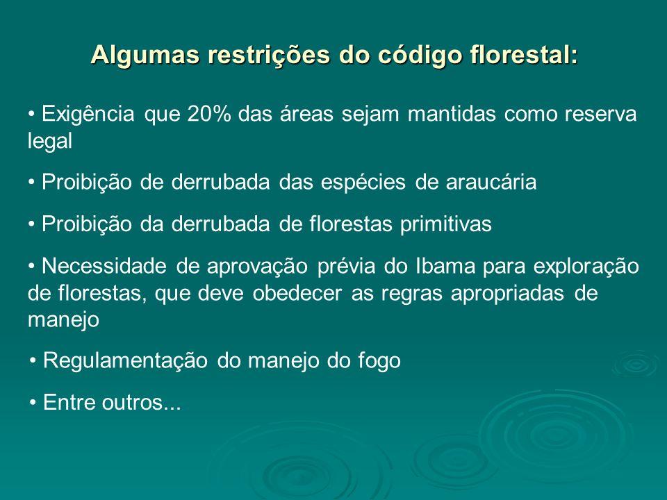 Algumas restrições do código florestal: