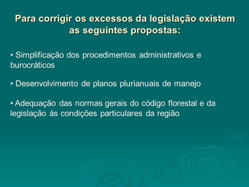 Para corrigir os excessos da legislação existem as seguintes propostas: