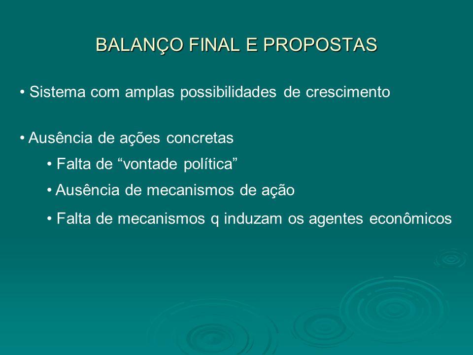 BALANÇO FINAL E PROPOSTAS