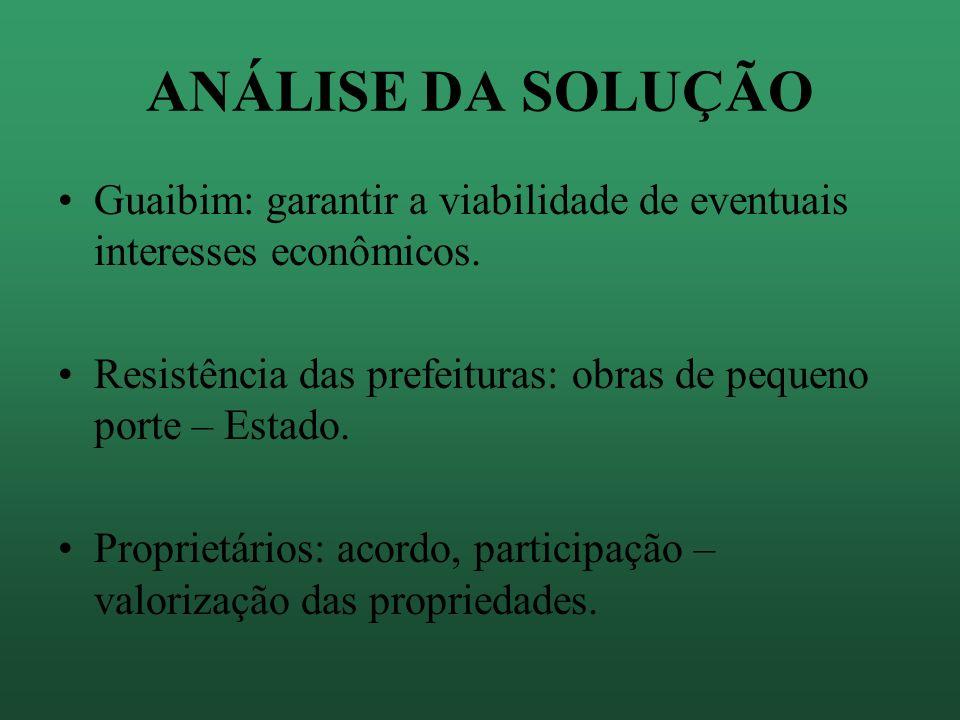 ANÁLISE DA SOLUÇÃO Guaibim: garantir a viabilidade de eventuais interesses econômicos. Resistência das prefeituras: obras de pequeno porte – Estado.