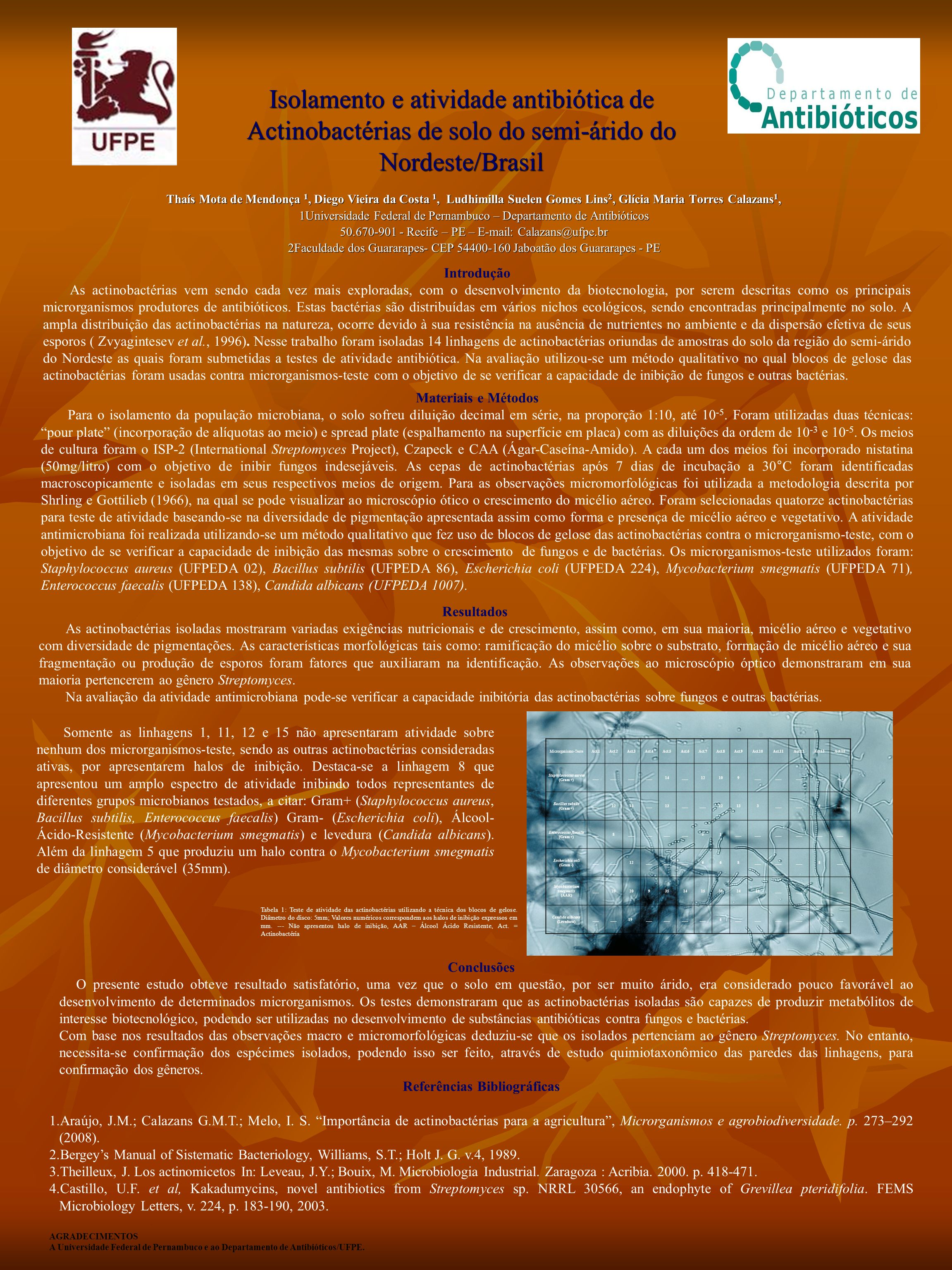 Isolamento e atividade antibiótica de Actinobactérias de solo do semi-árido do Nordeste/Brasil