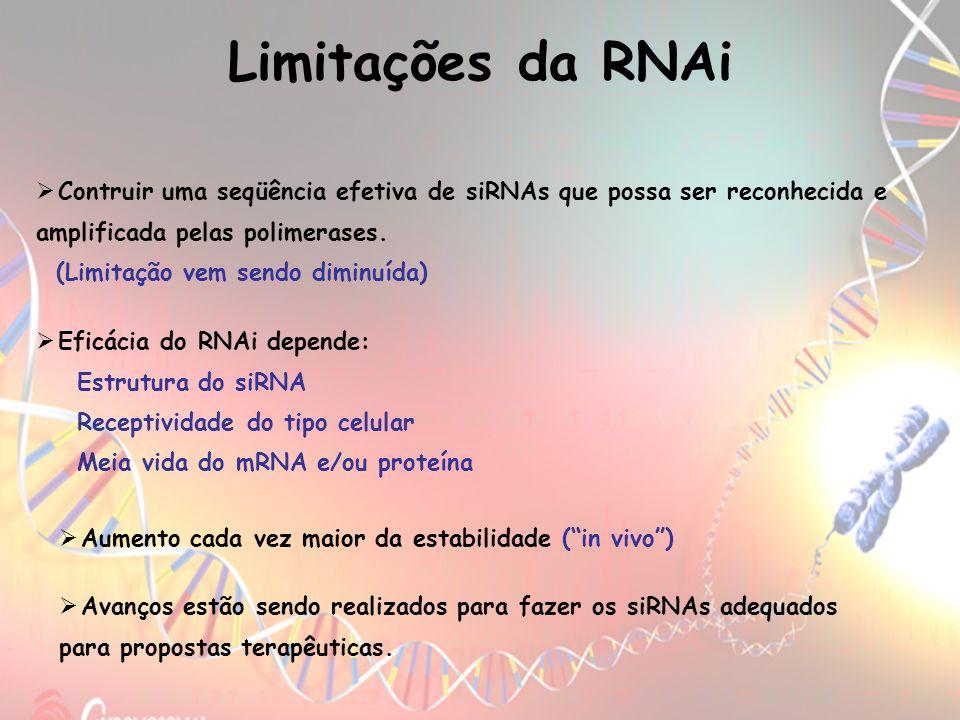 Limitações da RNAiContruir uma seqüência efetiva de siRNAs que possa ser reconhecida e amplificada pelas polimerases.