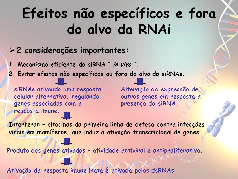 Efeitos não específicos e fora do alvo da RNAi