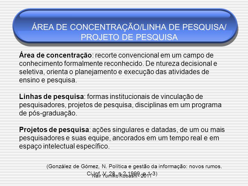 ÁREA DE CONCENTRAÇÃO/LINHA DE PESQUISA/