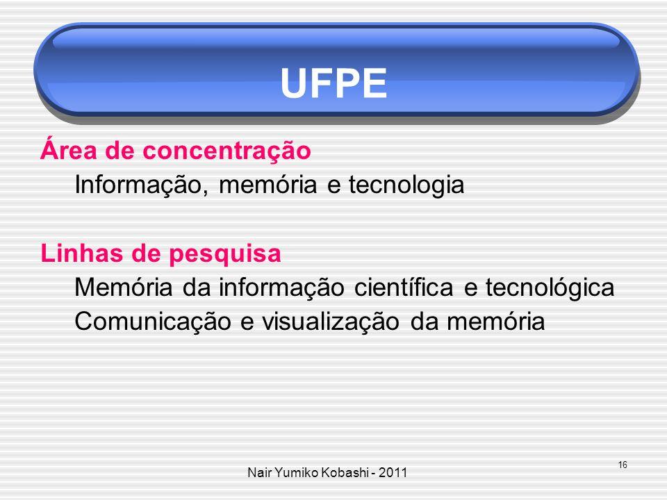 UFPE Área de concentração Informação, memória e tecnologia