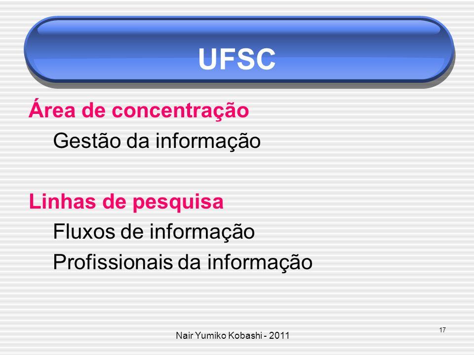 UFSC Área de concentração Gestão da informação Linhas de pesquisa