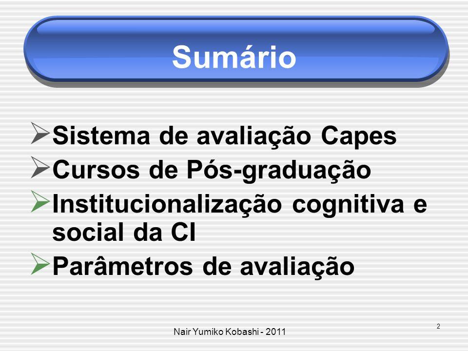 Sumário Sistema de avaliação Capes Cursos de Pós-graduação