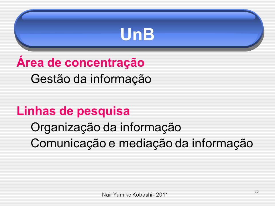 UnB Área de concentração Gestão da informação Linhas de pesquisa