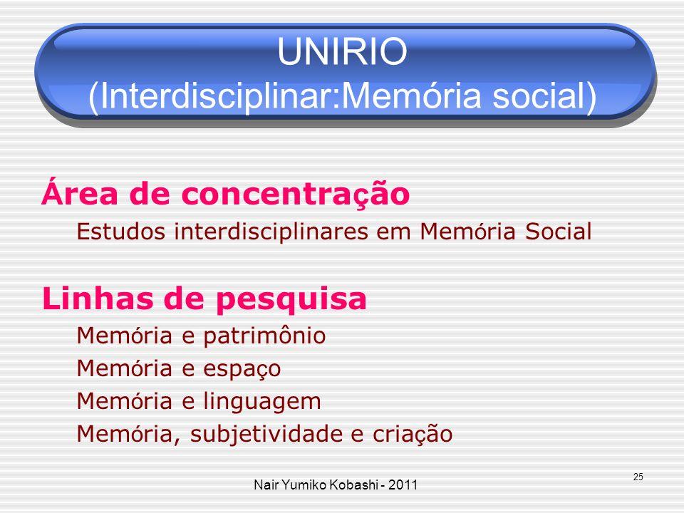UNIRIO (Interdisciplinar:Memória social)