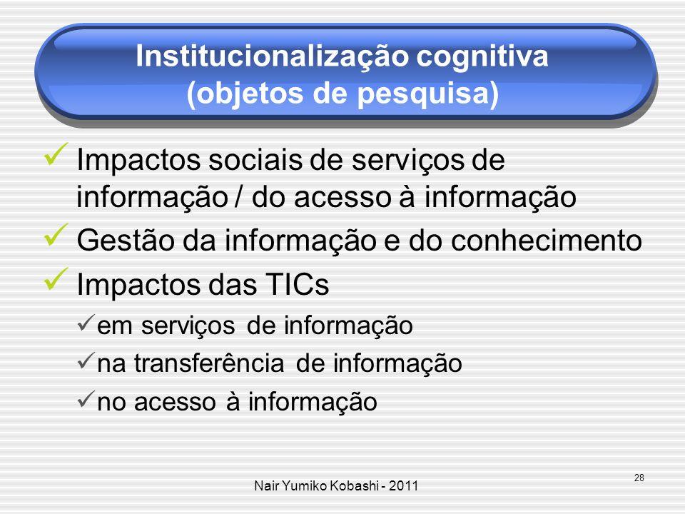 Institucionalização cognitiva (objetos de pesquisa)