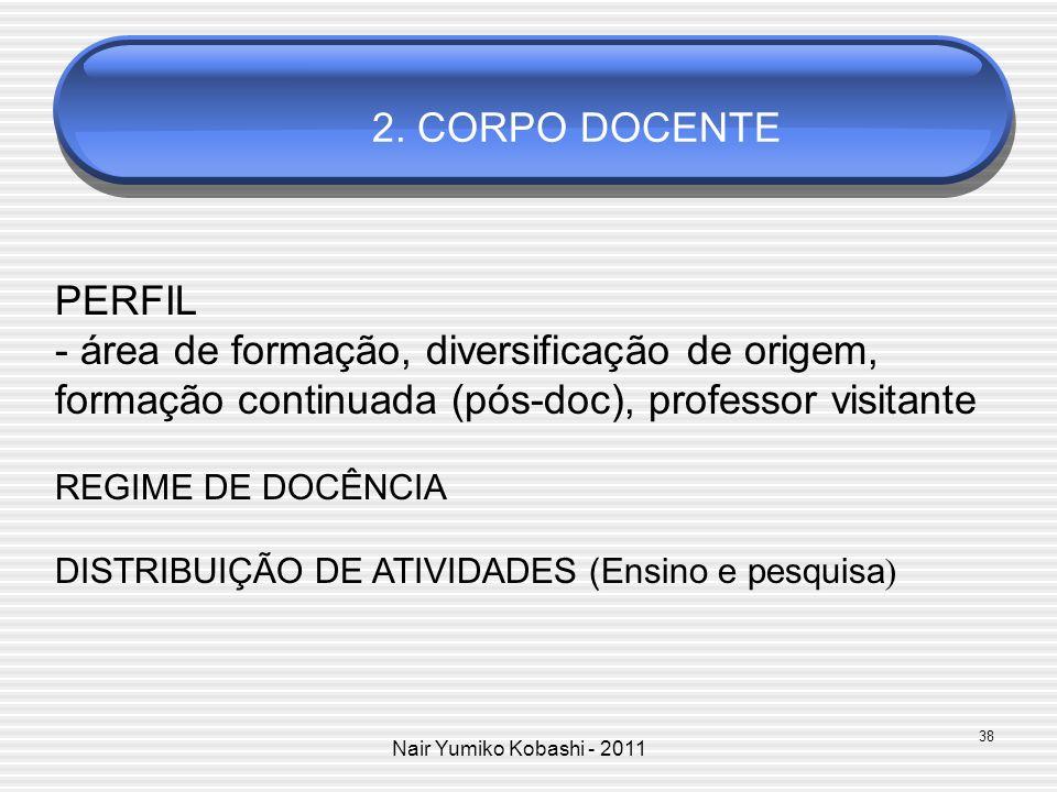 2. CORPO DOCENTE PERFIL. - área de formação, diversificação de origem, formação continuada (pós-doc), professor visitante.