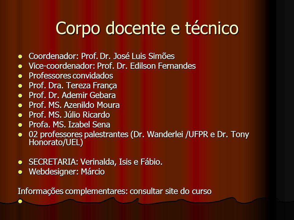 Corpo docente e técnico