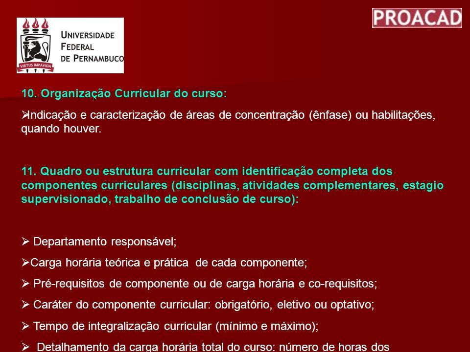 10. Organização Curricular do curso: