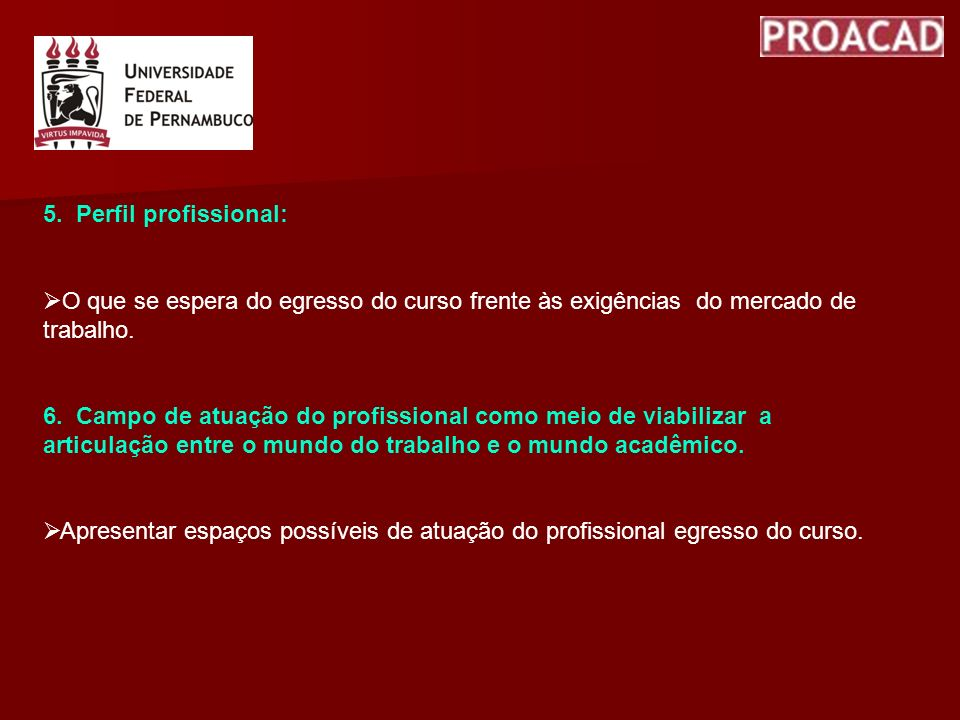 5. Perfil profissional: O que se espera do egresso do curso frente às exigências do mercado de trabalho.