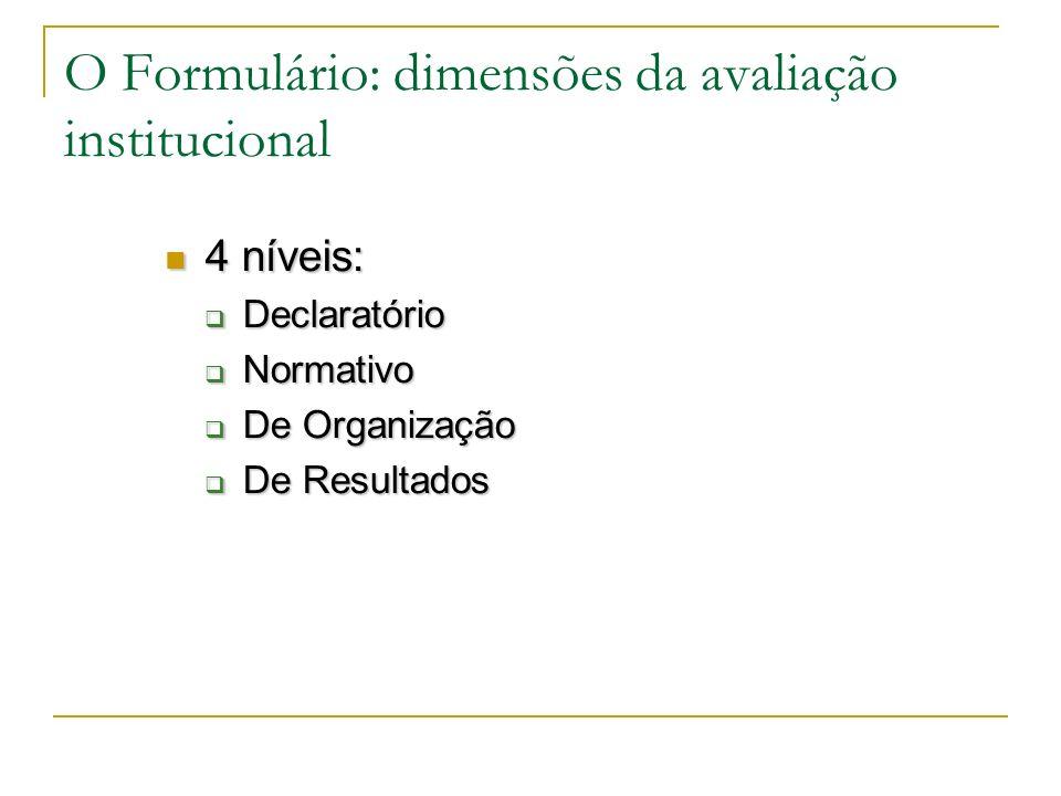 O Formulário: dimensões da avaliação institucional
