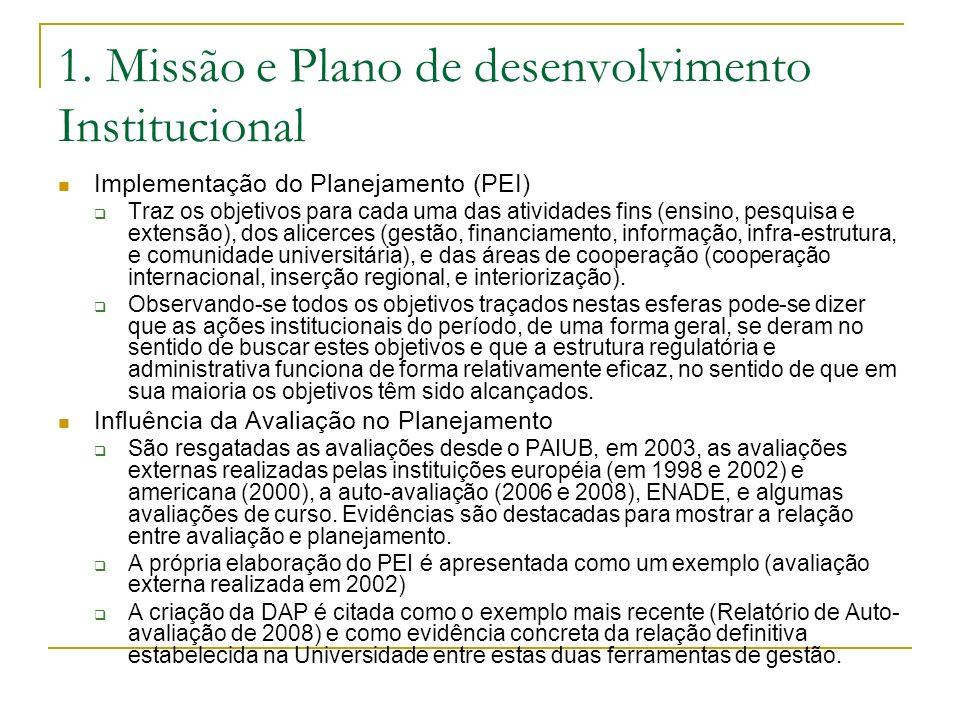 1. Missão e Plano de desenvolvimento Institucional