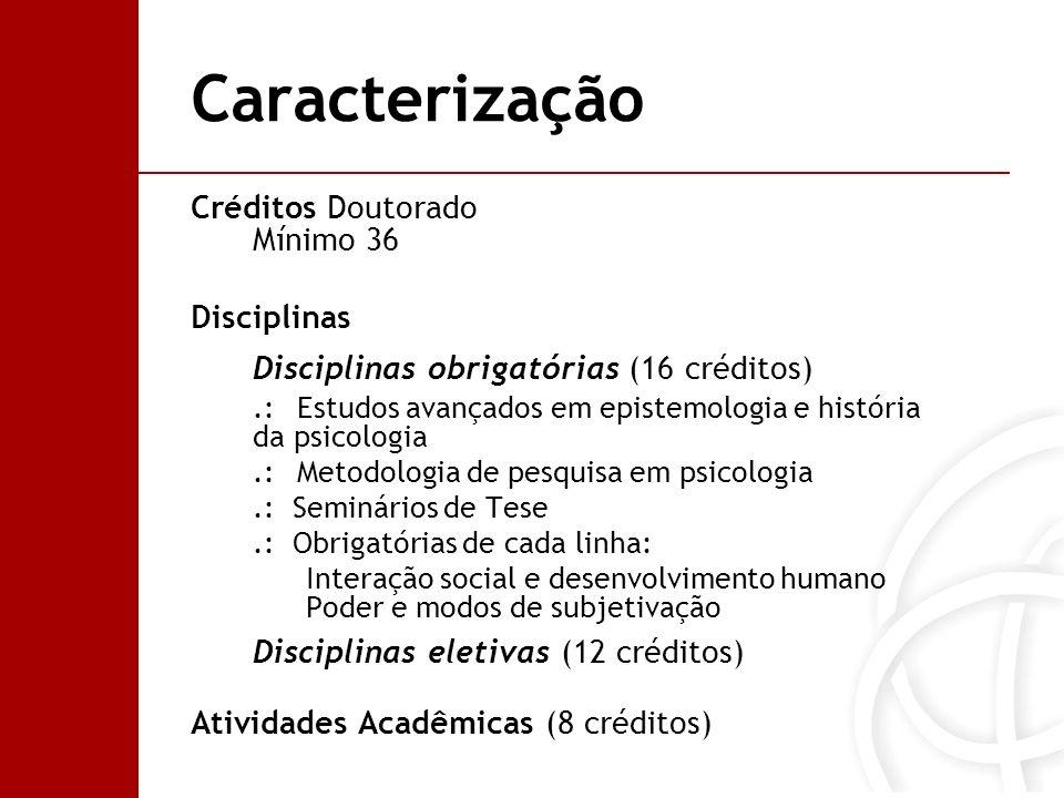 Caracterização Créditos Doutorado Mínimo 36 Disciplinas