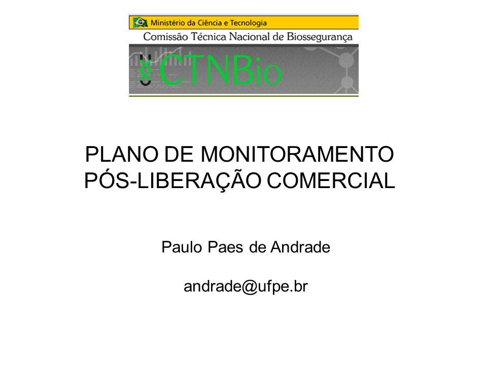 PLANO DE MONITORAMENTO PÓS-LIBERAÇÃO COMERCIAL