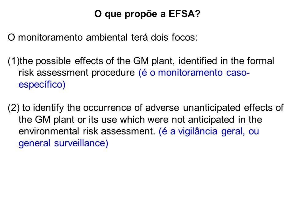 O que propõe a EFSA O monitoramento ambiental terá dois focos: