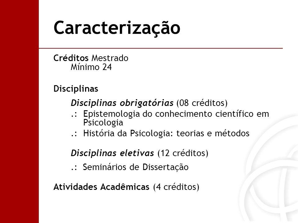 Caracterização Créditos Mestrado Mínimo 24 Disciplinas